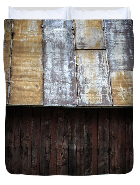 Old Rusty Tin Roof Barn Duvet Cover by Edward Fielding