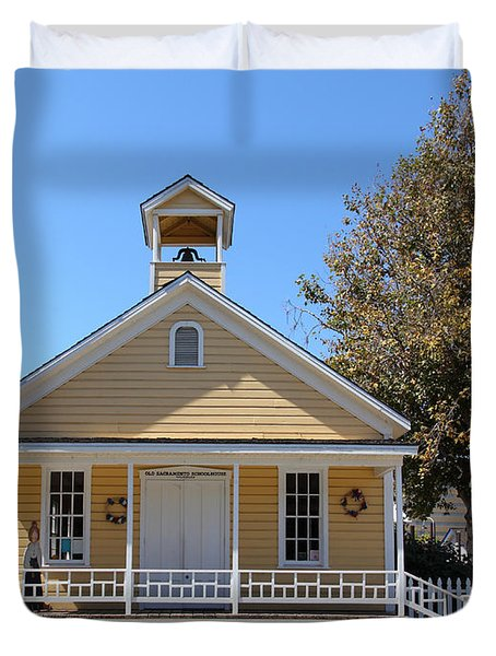 Old Sacramento California Schoolhouse 5d25541 Duvet Cover by Wingsdomain Art and Photography