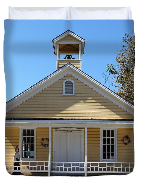 Old Sacramento California Schoolhouse 5D25543 Duvet Cover by Wingsdomain Art and Photography