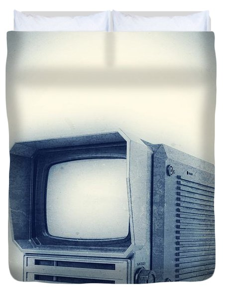Old School Television Duvet Cover by Edward Fielding