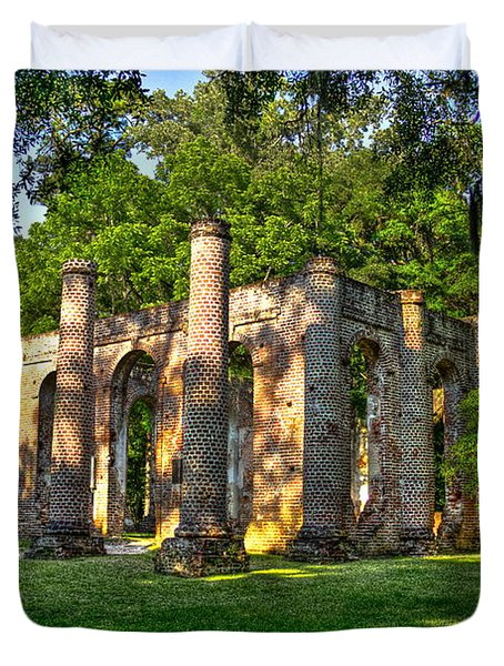 Old Sheldon Church Ruins In South Carolina Duvet Cover by Reid Callaway
