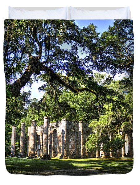 Old Sheldon Church Ruins near Beaufort SC Duvet Cover by Reid Callaway