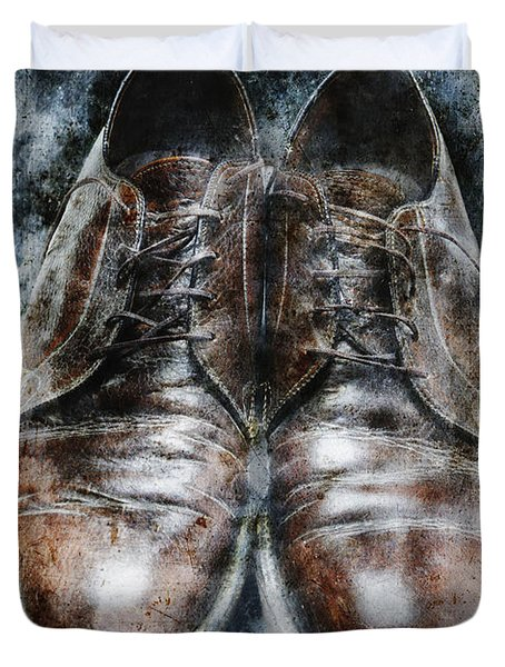 Old Shoes Frozen In Ice Duvet Cover by Skip Nall