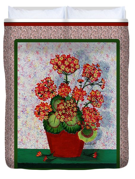 Old Time Geraniums Duvet Cover by Barbara Griffin