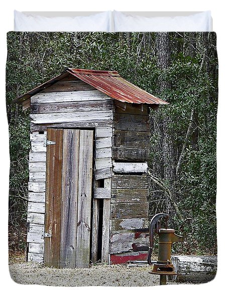 Old Time Outhouse And Pitcher Pump Duvet Cover by Al Powell Photography USA