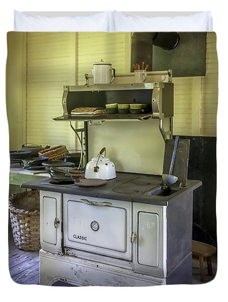 Old Timey Stove Duvet Cover by Lynn Palmer