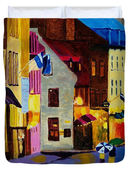 Duvet Cover featuring the painting Old Towne Quebec by Rodney Campbell