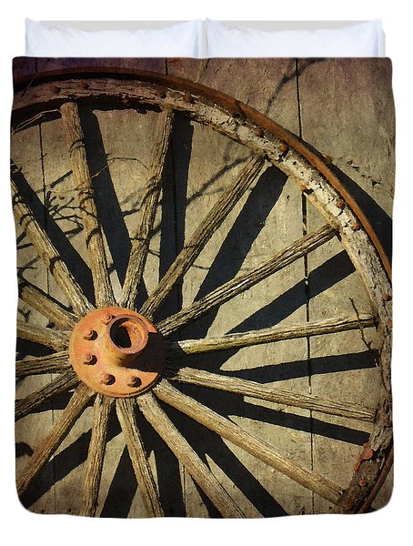 Old West Wagon Wheel Duvet Cover by Betty LaRue