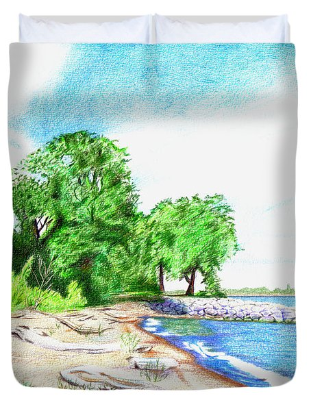 Old Woman Creek - Huron Ohio Duvet Cover by Shawna  Rowe