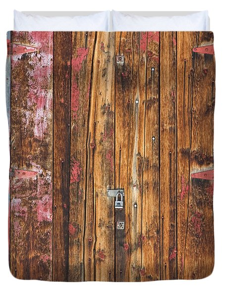 Old Wood Door With Six Red Hinges Duvet Cover by James BO  Insogna