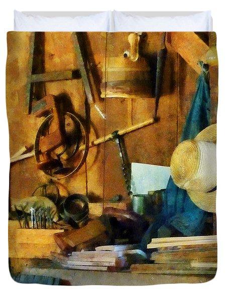 Old Wood Shop Duvet Cover by Susan Savad