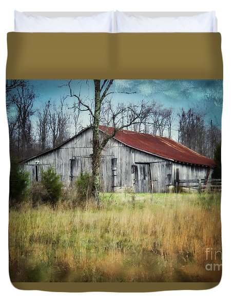 Old Wooden Barn Duvet Cover by Betty LaRue