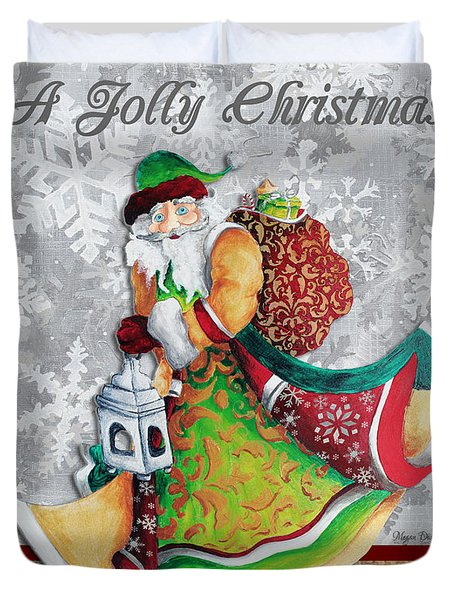 Old World Santa Clause Christmas Art Original Painting By Megan Duncanson Duvet Cover by Megan Duncanson