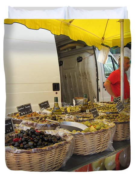 Olives For Sale Duvet Cover by Pema Hou