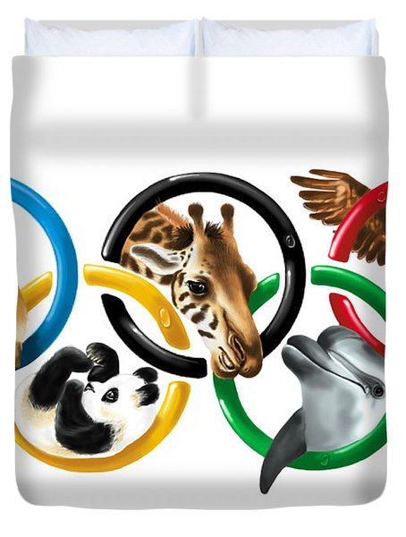 Olympic animals Duvet Cover by Veronica Minozzi