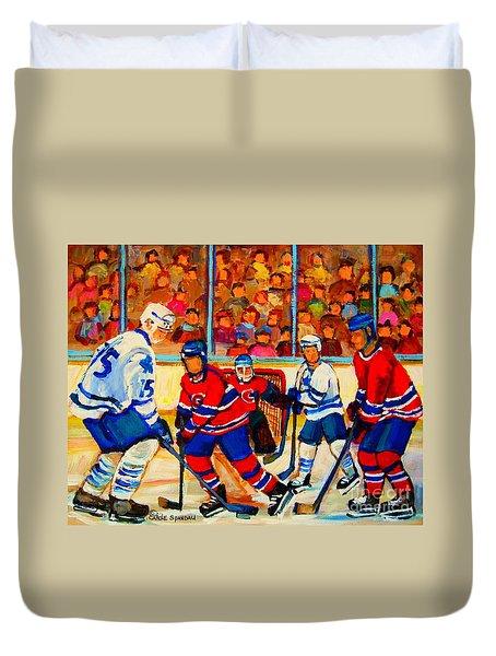 Olympic  Hockey Hopefuls  Painting By Montreal Hockey Artist Carole Spandau Duvet Cover by Carole Spandau