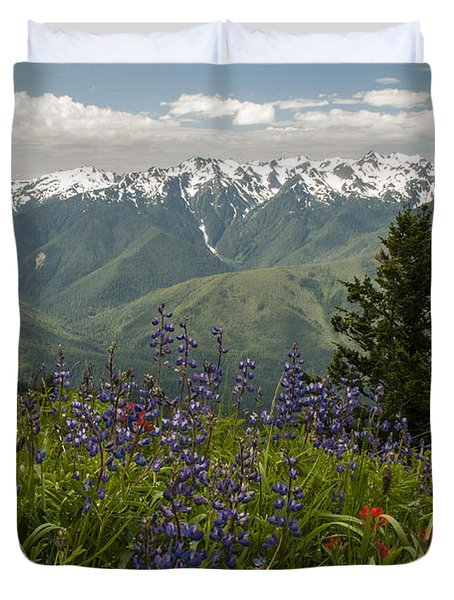 Olympic Mountain Wildflowers Duvet Cover by Brian Harig