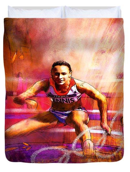 Olympics Heptathlon Hurdles 02 Duvet Cover by Miki De Goodaboom