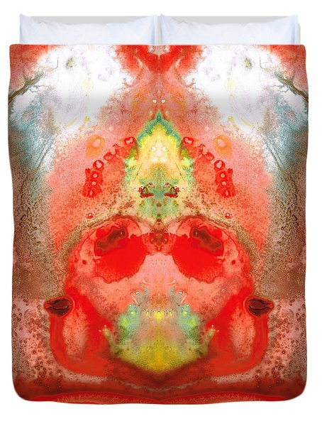 Om - Red Meditation - Abstract Art By Sharon Cummings Duvet Cover by Sharon Cummings