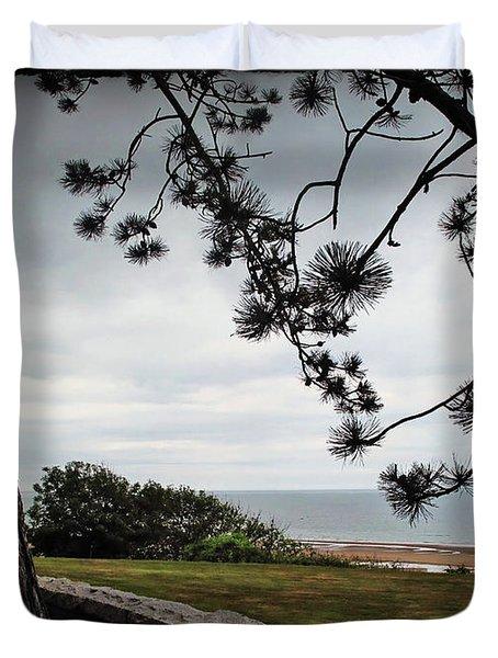 Omaha Beach Under Trees Duvet Cover by Joan  Minchak