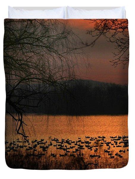 On Golden Pond Duvet Cover by Lori Deiter