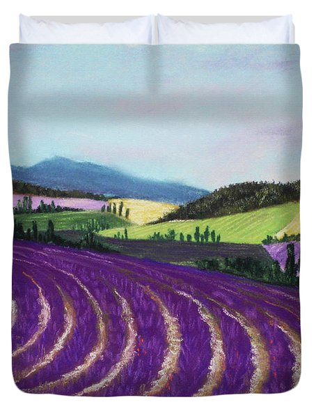 On Lavender Trail Duvet Cover by Anastasiya Malakhova