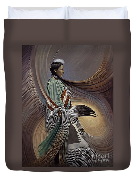 On Sacred Ground Series I Duvet Cover by Ricardo Chavez-Mendez