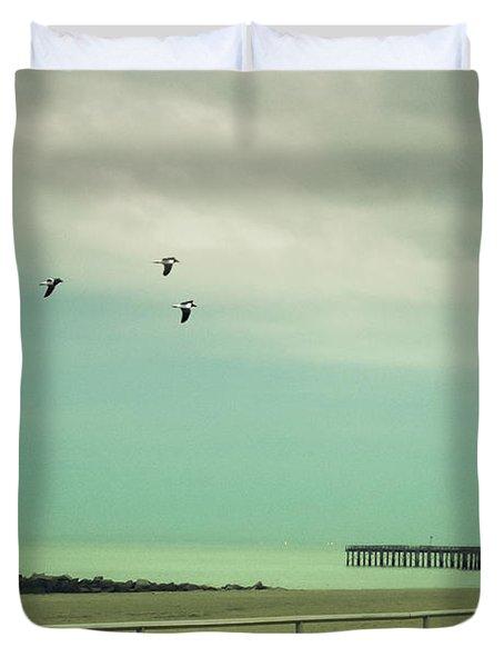 On The Boardwalk Duvet Cover by Margie Hurwich
