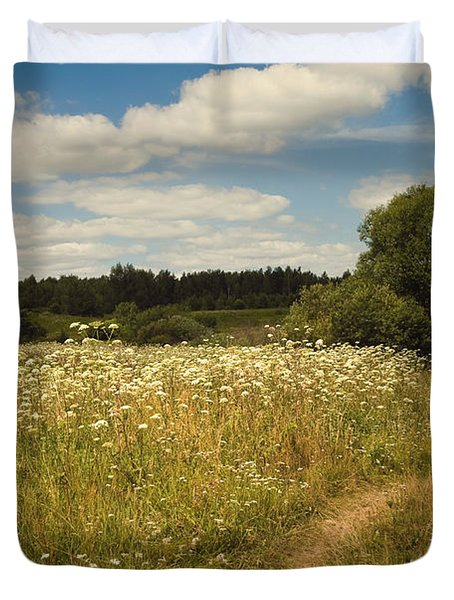 On the Summer Meadow II. Russia Duvet Cover by Jenny Rainbow