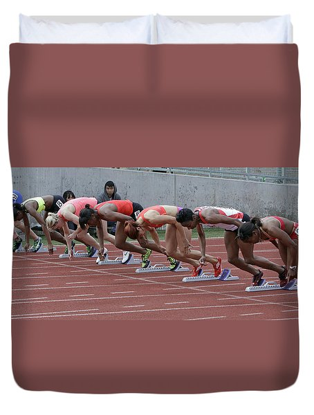 On Your Marks Duvet Cover by Shoal Hollingsworth