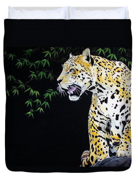Onca And Bamboo Duvet Cover by Chikako Hashimoto Lichnowsky