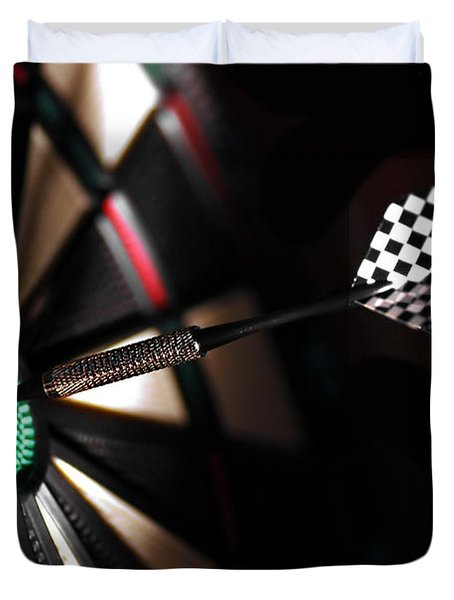 One Arrow In The Centre Of A Dart Board Duvet Cover by Michal Bednarek