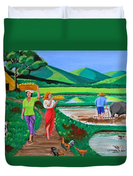 One Beautiful Morning In The Farm Duvet Cover by Cyril Maza