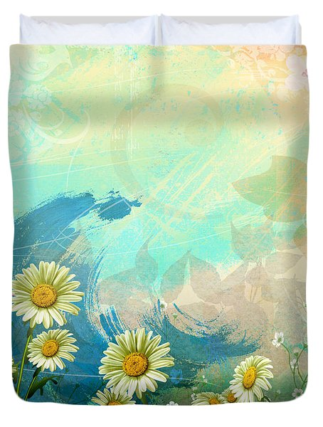 One Pink Daisy Duvet Cover by Bedros Awak
