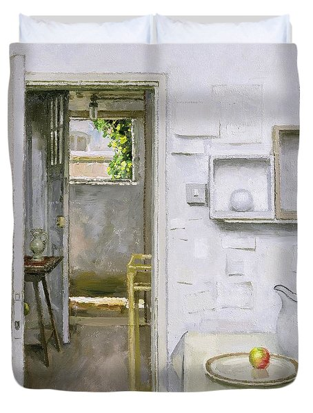 Open Doors With Still Life And Letter Duvet Cover by Charles E Hardaker