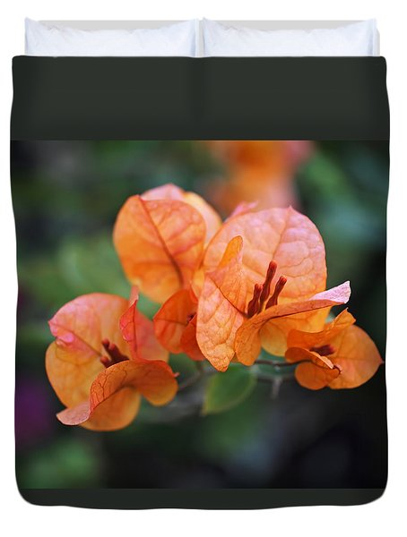 Orange Bougainvillea Duvet Cover by Rona Black
