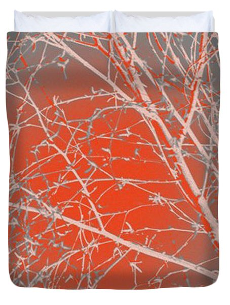 Orange Branches Duvet Cover by Carol Lynch