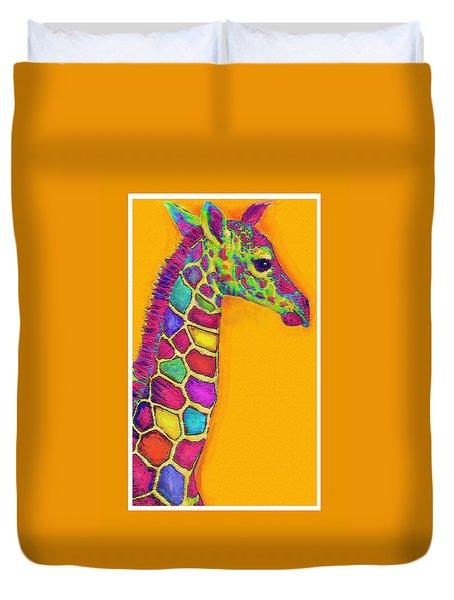 Orange Carosel Giraffe Duvet Cover by Jane Schnetlage