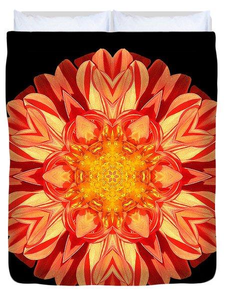 Orange Dahlia Flower Mandala Duvet Cover by David J Bookbinder