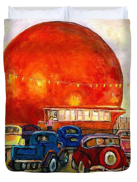 Orange Julep With Antique Cars Duvet Cover by CAROLE SPANDAU