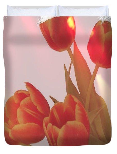 Orange Light Duvet Cover by Debra  Miller