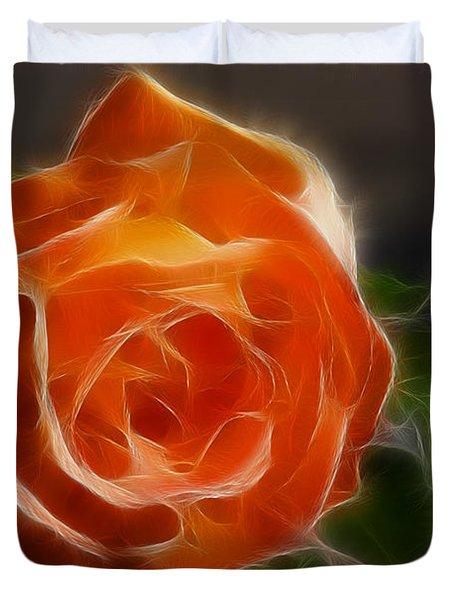 Orange Rose 6220-fractal Duvet Cover by Gary Gingrich Galleries