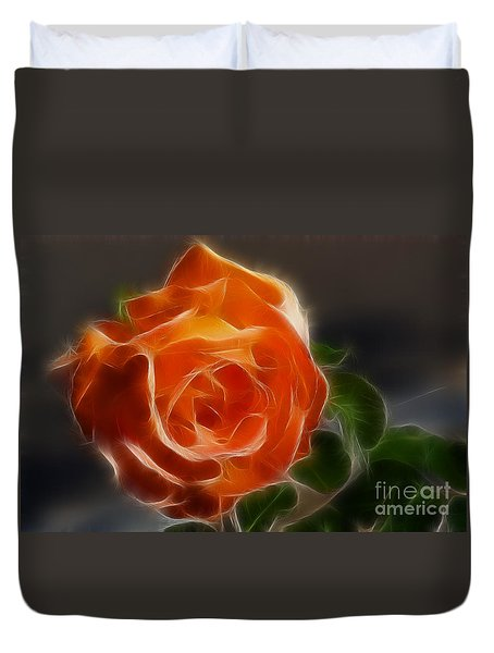 Orange Rose 6220-fractal Duvet Cover by Gary Gingrich Galleries