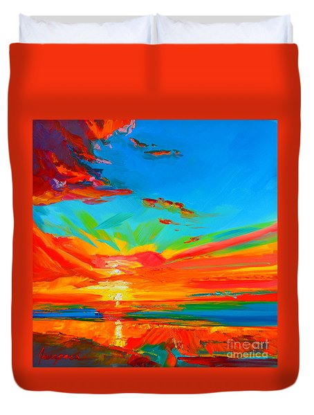 Orange Sunset Landscape Duvet Cover by Patricia Awapara