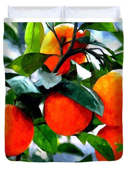 Orange Tree In Springtime  Duvet Cover by Lanjee Chee