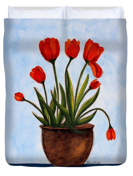 Orange Tulips On A Blue Buffet Duvet Cover by Barbara Griffin