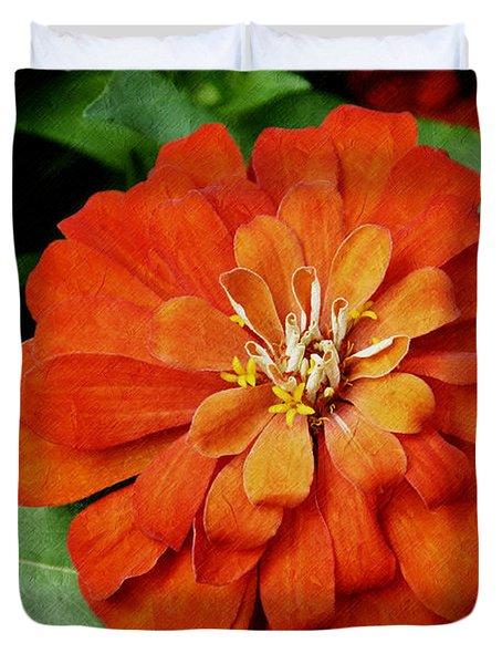 Orange Velvet Zinnia Duvet Cover by Andee Design