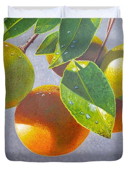 Oranges Duvet Cover by Carey Chen