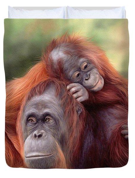 Orangutans Painting Duvet Cover by Rachel Stribbling