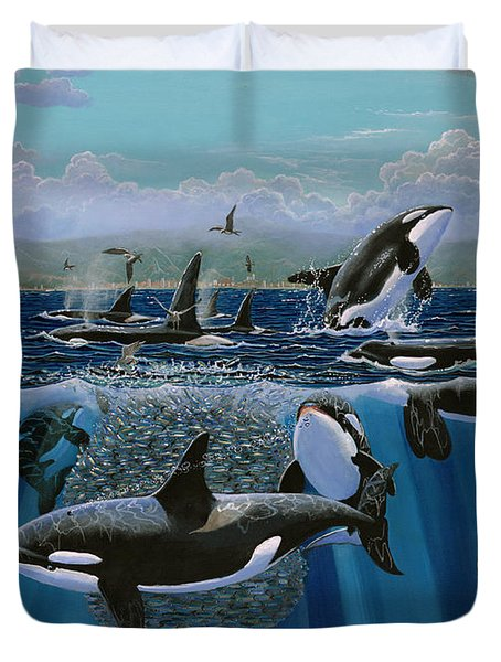 Orca Play Re009 Duvet Cover by Carey Chen